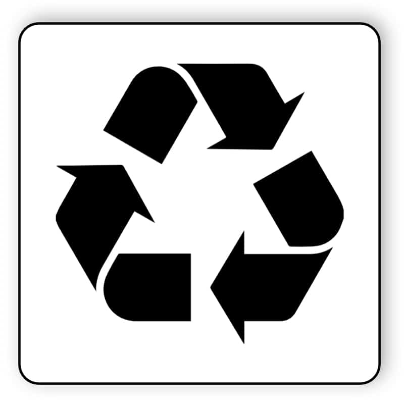 Black and white recycle sticker