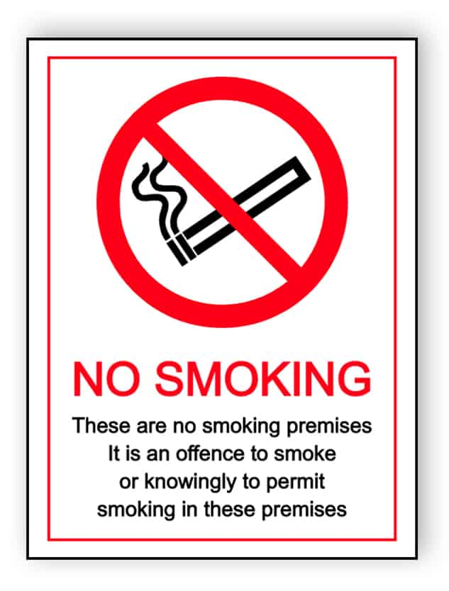 No smoking - these are smoking premises - portrait sign