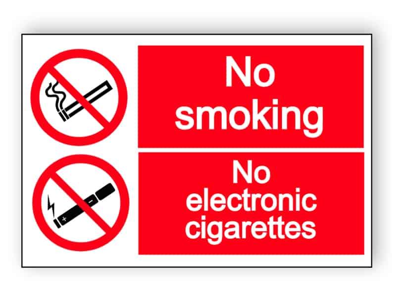No smoking - no electronic cigarettes - landscape sign