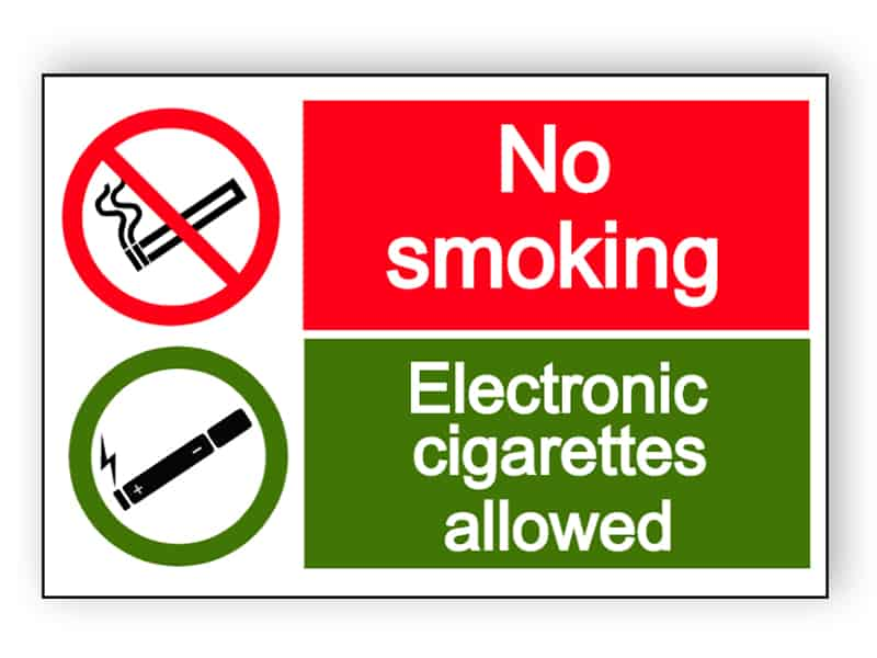 No smoking - electronic cigarettes allowed - landscape sign