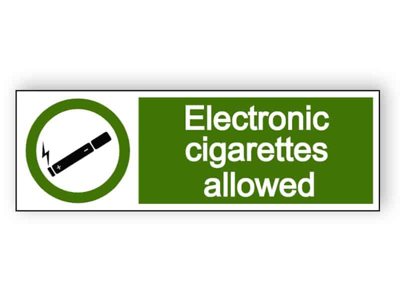 Electronic cigarettes allowed - landscape sign