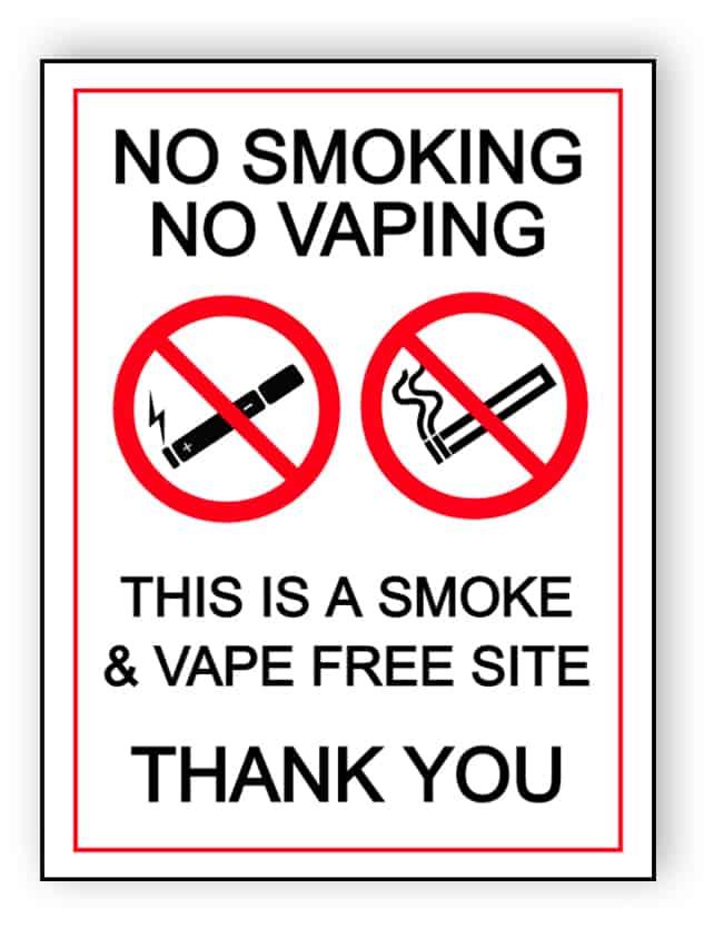 No smoking, no vaping - this is a smoke & vape free site - portrait sign