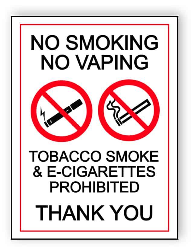 Tobacco smoke & e-cigarettes prohibited - portrait sign