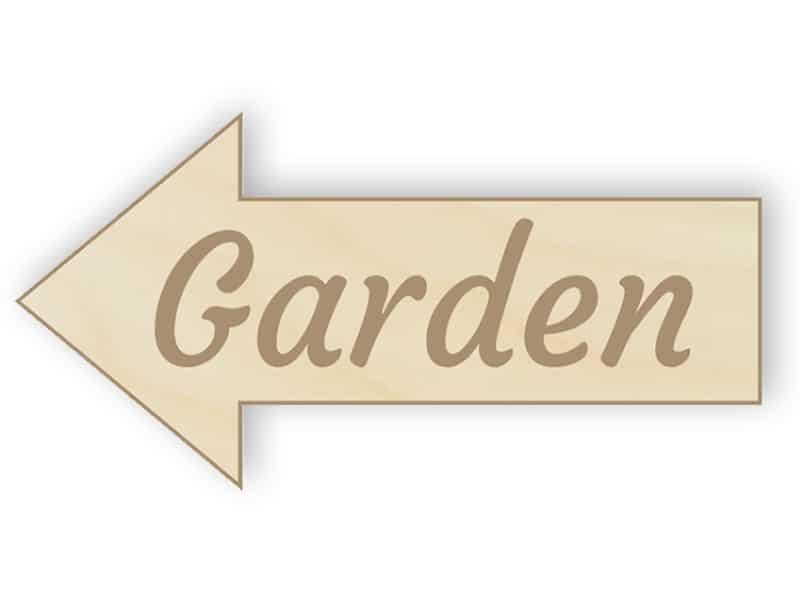 Wooden arrow garden sign