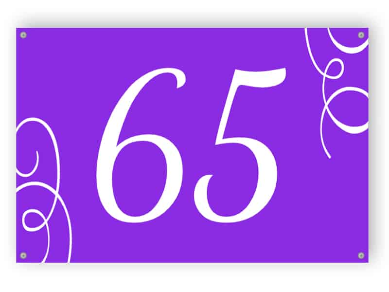 Purple house number sign