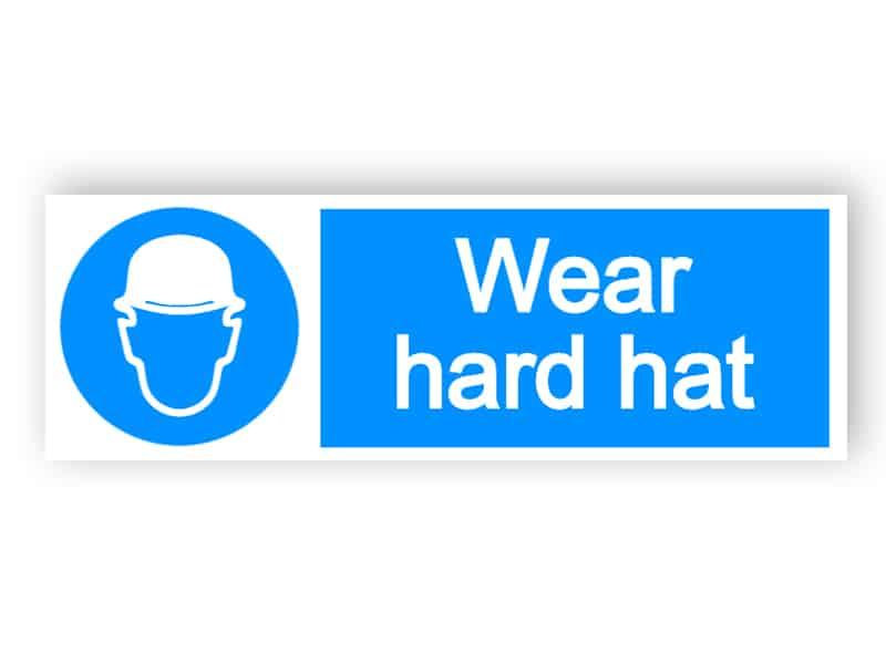 Wear hard hat - landscape sign