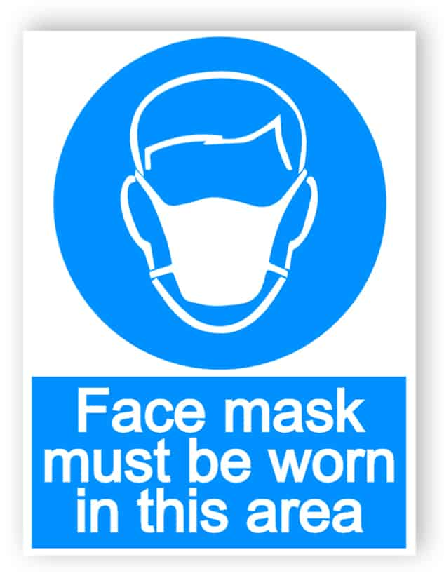 Face mask must be worn in this area - portrait sign