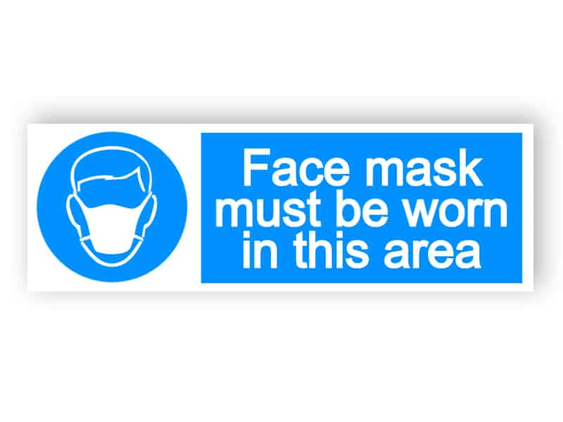 Face mask must be worn in this area - landscape sign