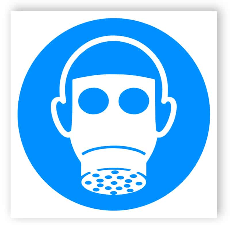 Breathing protection sticker
