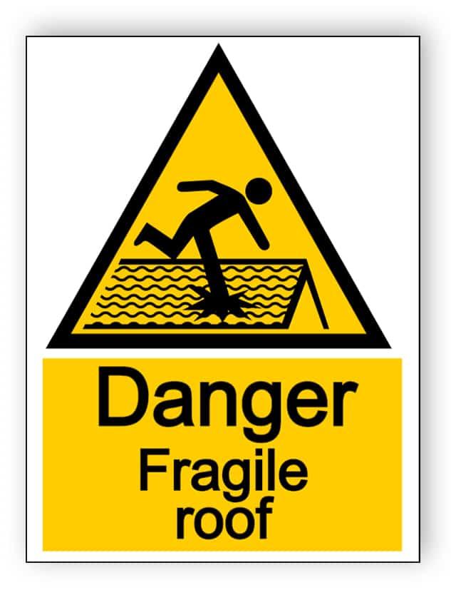 Danger fragile roof - portrait sign