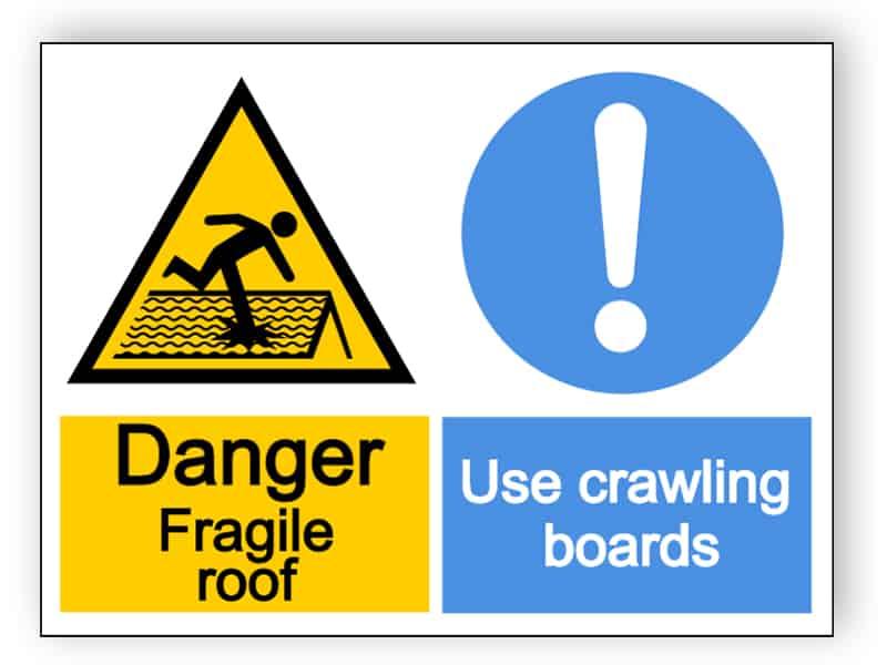 Danger fragile roof, use crawling boards - landscape sign