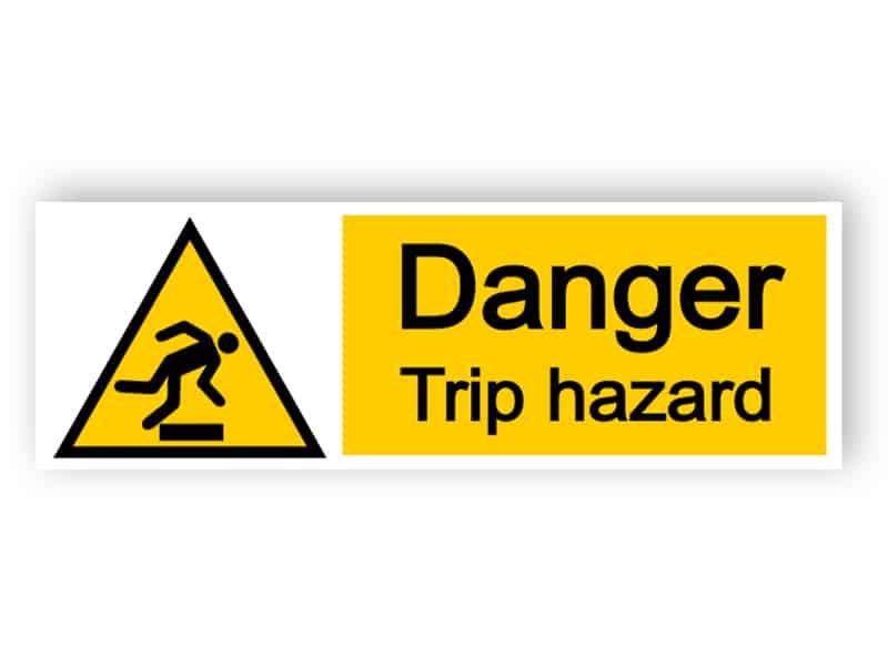 Danger trip hazard - landscape sign
