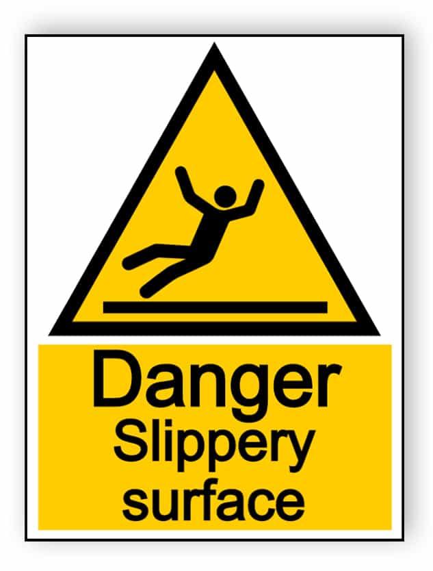 Danger slippery surface - portrait sign
