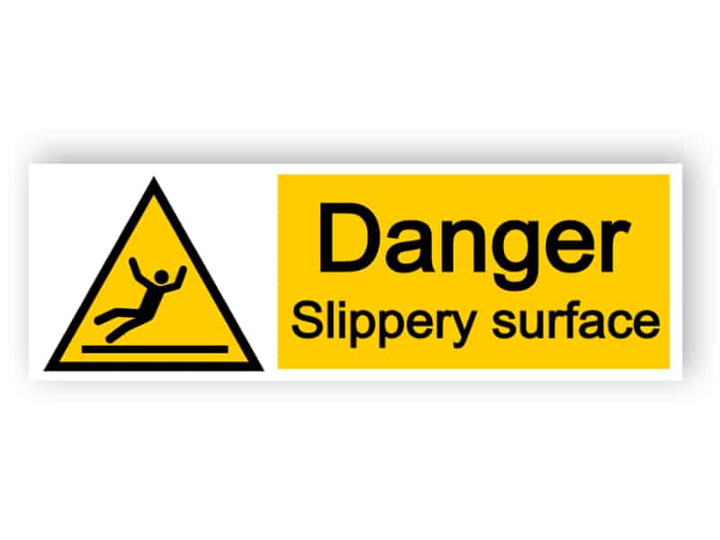 Danger slippery surface - landscape sign