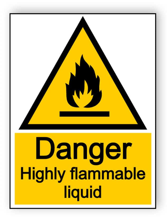 Danger highly flammable liquid - portrait sign