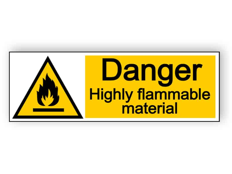 Danger highly flammable material - landscape sign