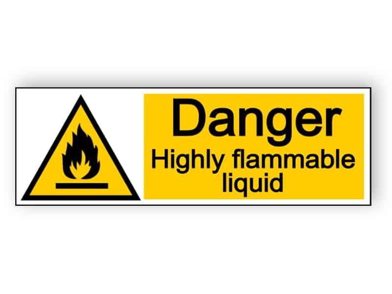Danger highly flammable liquid - landscape sign