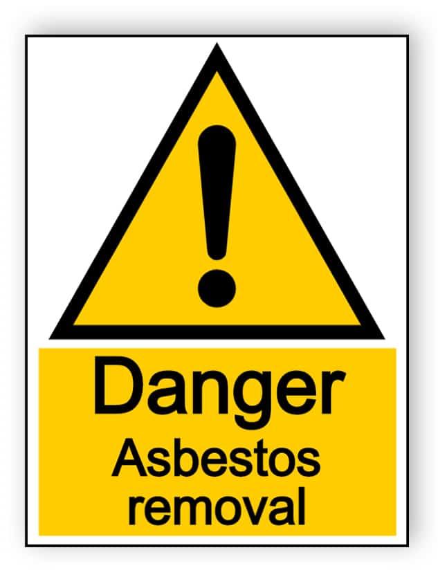Danger asbestos removal - portrait sign