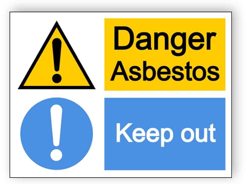 Danger asbestos/keep out - large landscape sign