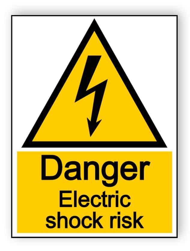 Danger electric shock risk - portrait sign
