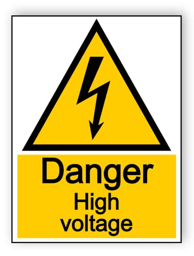 Danger high voltage - portrait sign