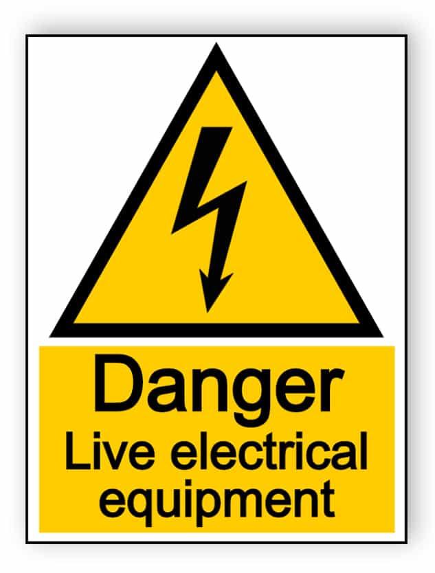 Danger live electrical equipment - portrait sign