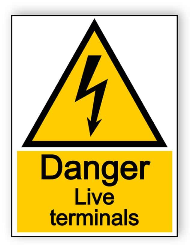 Danger live terminals - portrait sign