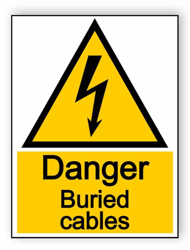 Danger buried cables - portrait sign