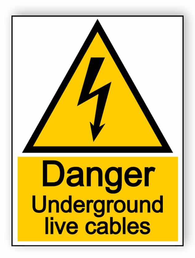 Danger underground live cables - portrait sign