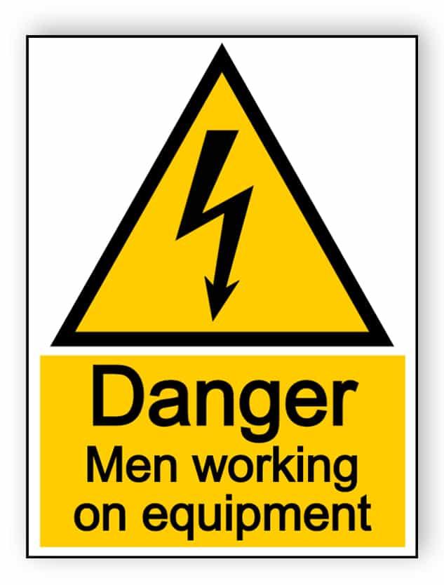Danger men working on equipment - portrait sign