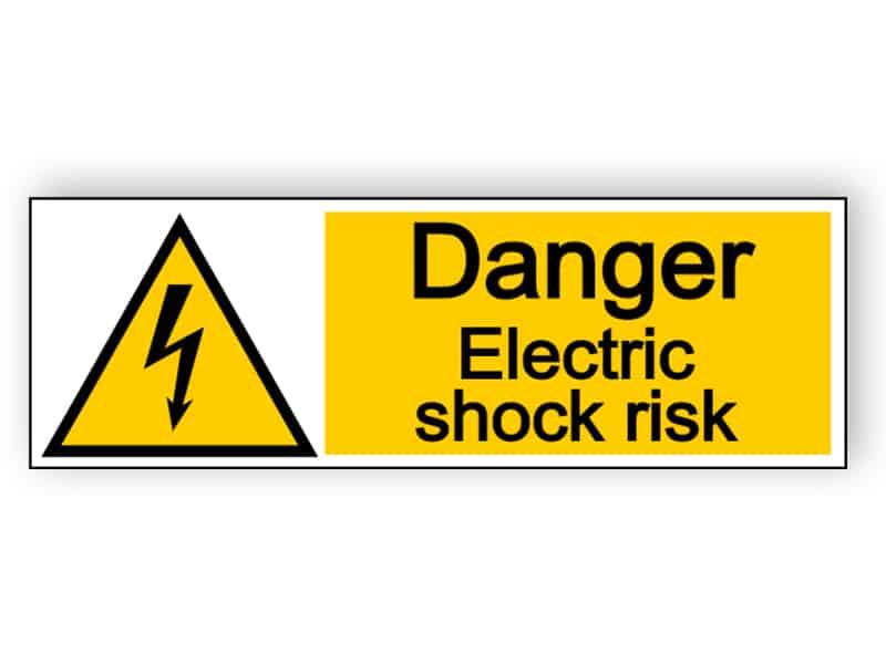 Danger electric shock risk - landscape sign