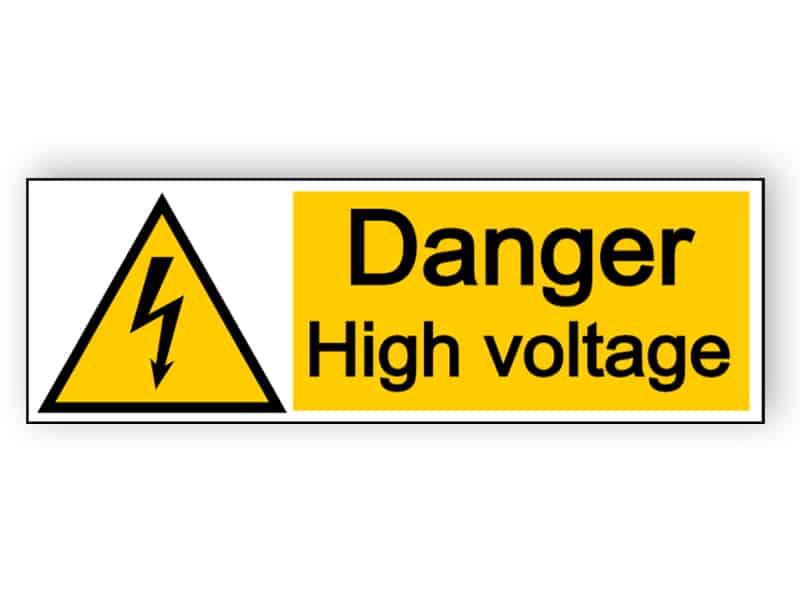 Danger high voltage - landscape sign