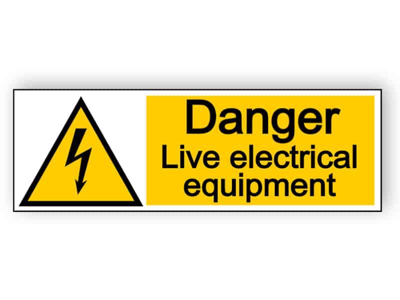 Danger live electrical equipment - landscape sign