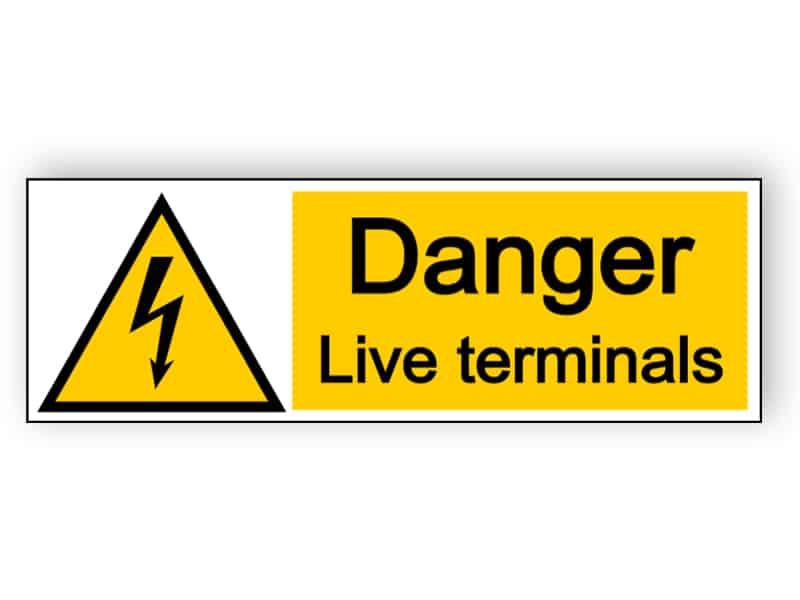 Danger live terminals - landscape sign