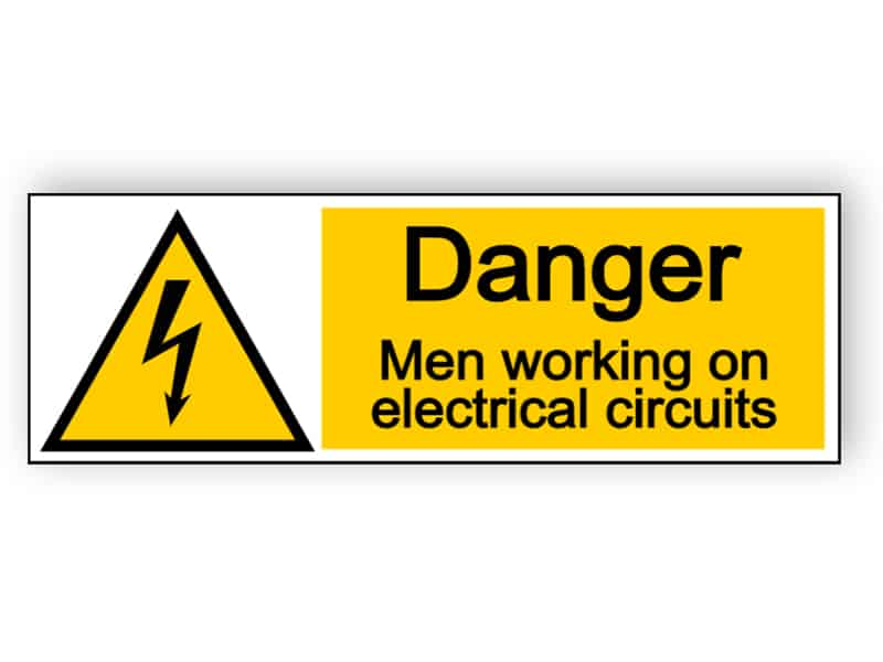 Danger men working on electrical circuits - landscape sign