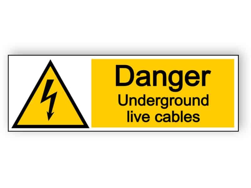 Danger underground live cables - landscape sign