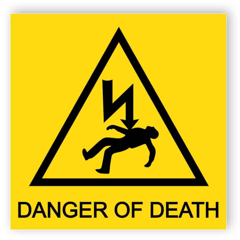 Danger of death square sign