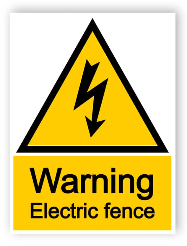 Warning electric fence - portrait sign