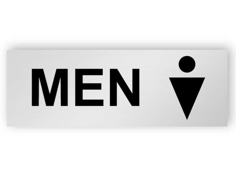 Silver toilet sign - men
