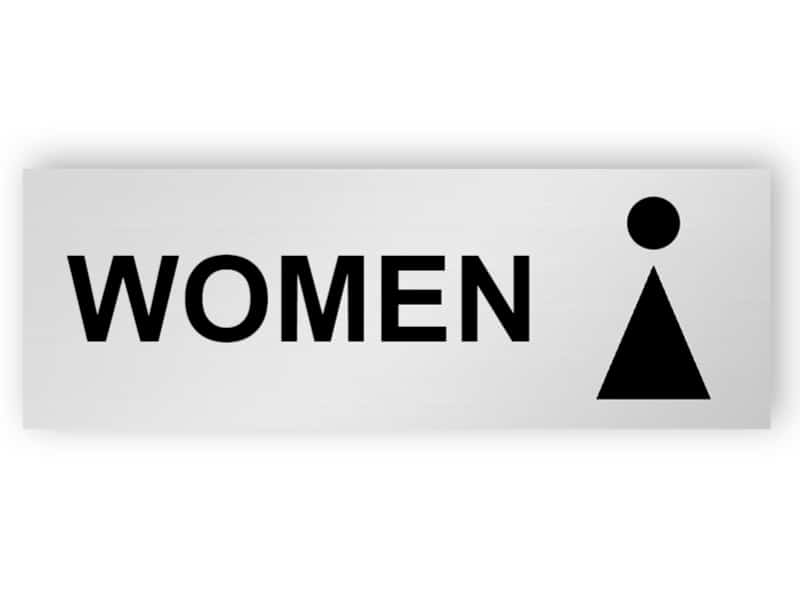 Silver toilet sign - women