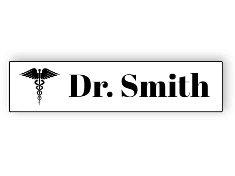 White name plate for doctor