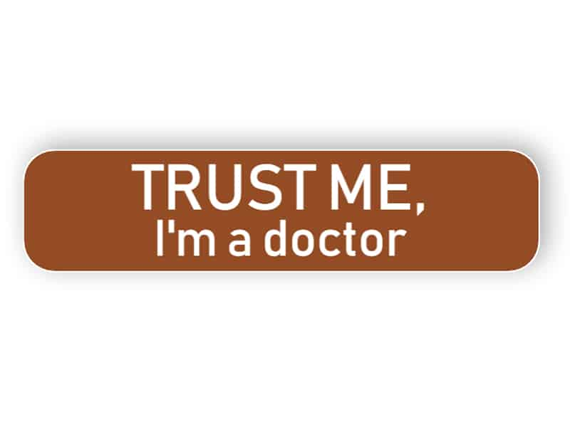 Funny brown name plate for doctor