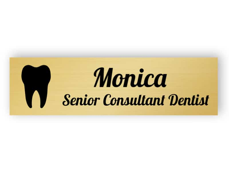Gold name plate for dentist