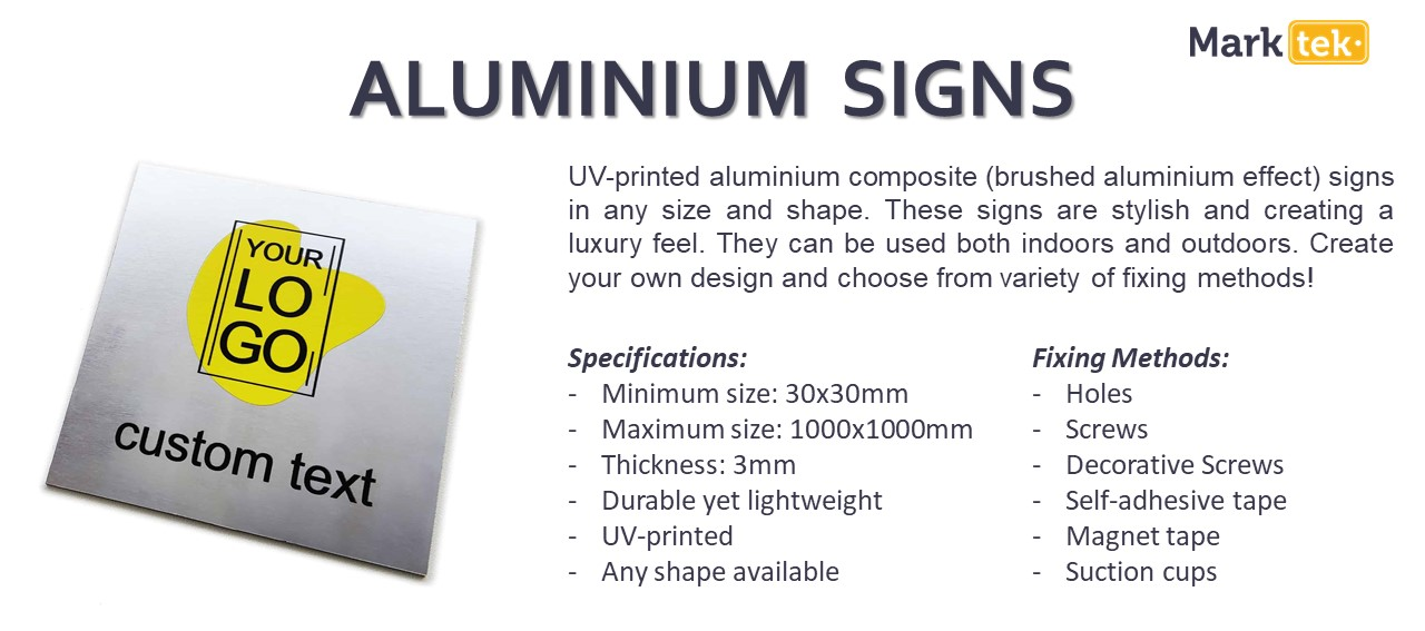 Aluminium signs specifications