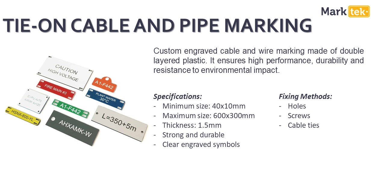 Tie-on cable and pipe marking specifications