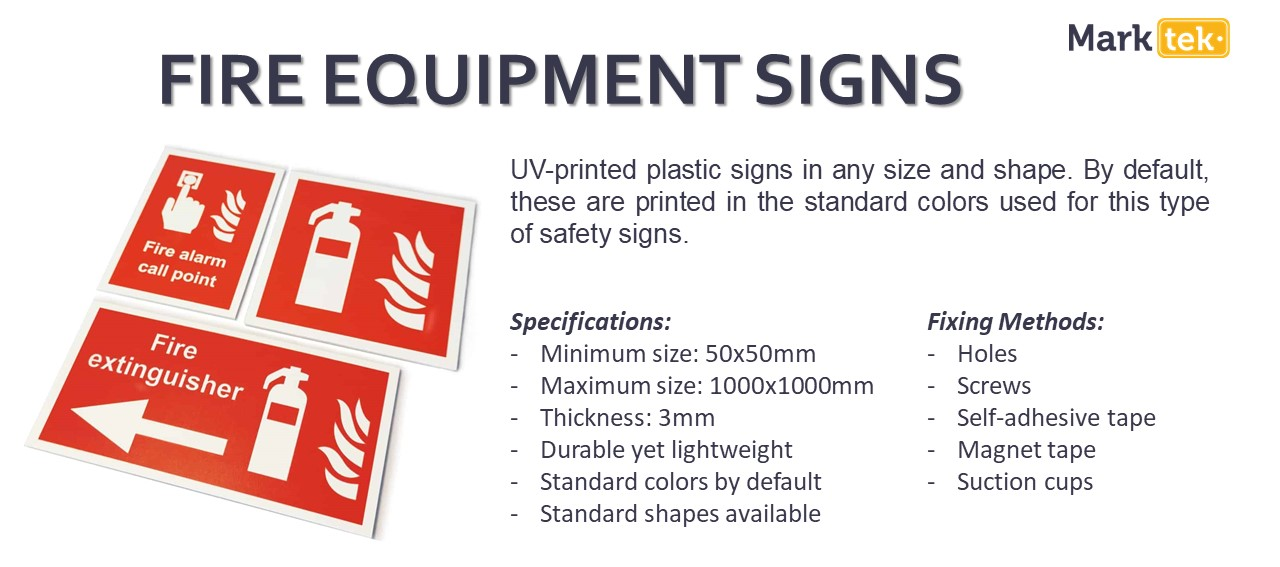 Fire equipment signs specifications