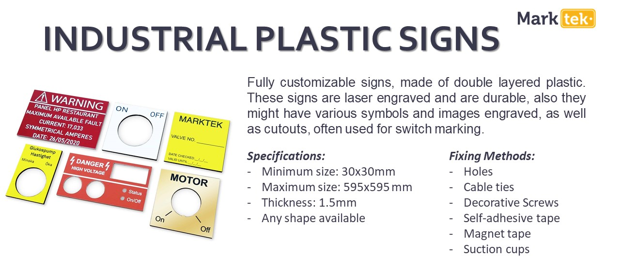 Industrial plastic signs specifications