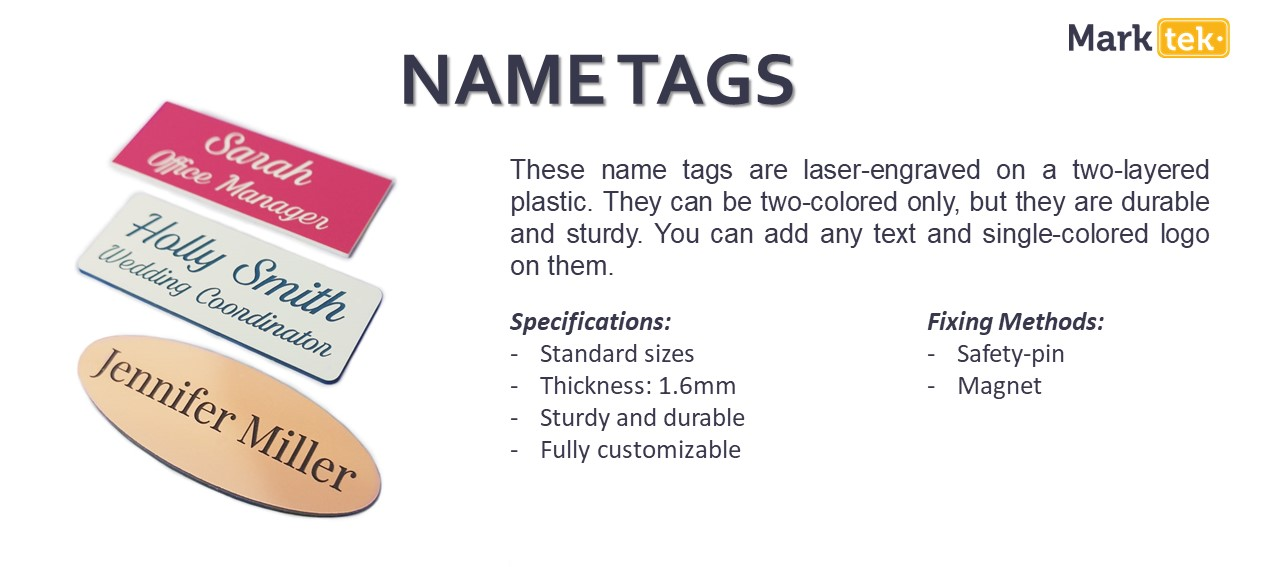 Name tags specifications