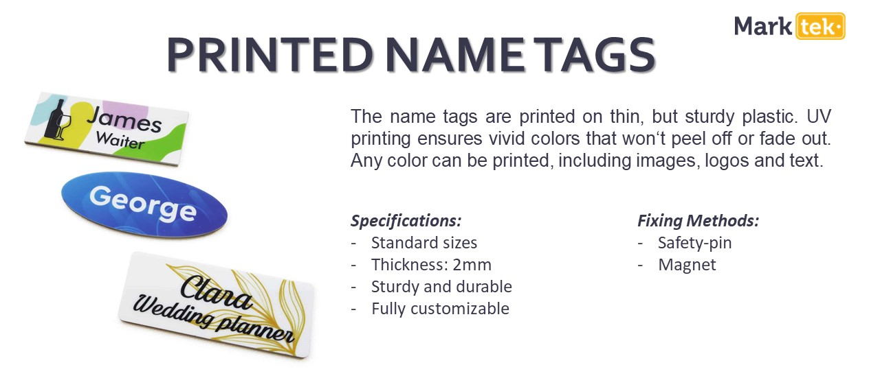 Printed name tags specifications
