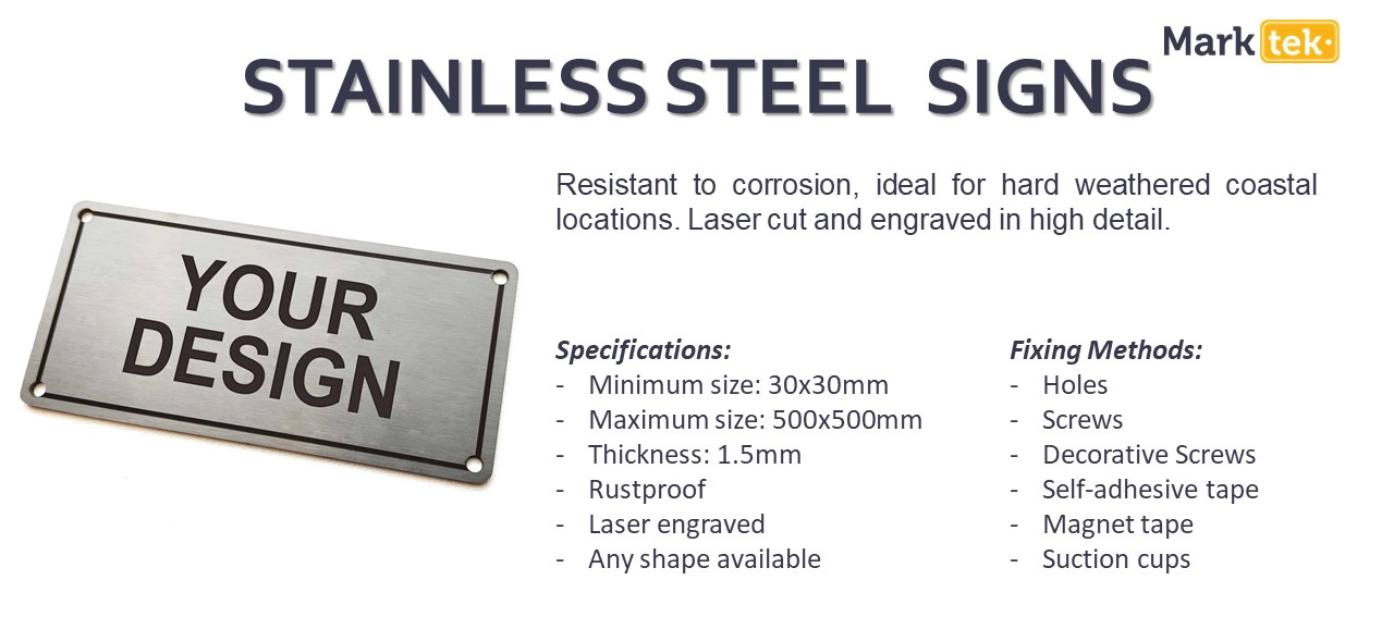 Stainless steel signs specifications